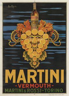 Martini & Rossi Vermouth liquor vintage poster. Ian Marco, 1970.