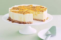 Frozen Mango & Lime Cheesecake by taste.com.au: No bake, super easy and you can substitute any fruit you like. #Cheesecake #Mango #Lime #No_Bake #Easy