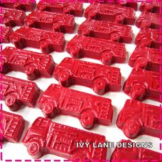RED FIRE TRUCK Crayon Birthday Favors  Party by ivylanedesigns - use as favor