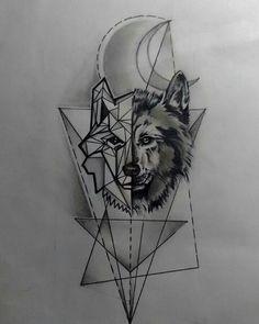 Plantilla tattoo lobo
