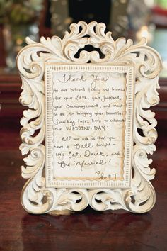 Personal thank you note for guest book table Love this idea