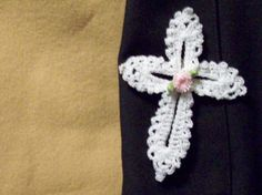 Crochet Cross Pin