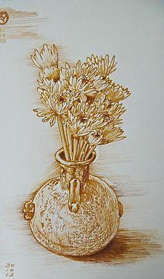 Crisantemus in pot by Luis Vargas Saavedra Pen and ink