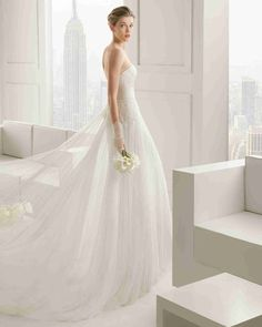 Chic Off Shoulder Short Sleeve A Line Wedding Dress Aro0093