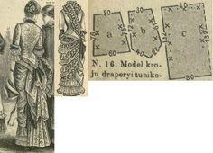 Tygodnik Mód 1881.: Promenade dress with drapery skirt; patterns to the drapery.