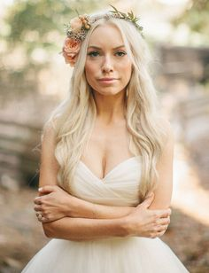 Gorgeous blonde bride with boho waves and a beautiful petite flower crown