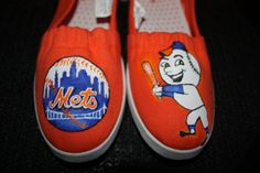 Handpainted  Shoes New York  METS Baseball team SHOES  Mr. Met  NY  any team Serority Toms Vans Converse any size on Etsy, $69.00
