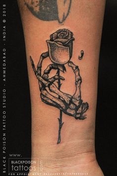Rose holding hand tattoo #rose #rosetattoo #skeletonhand #skeletontattoo #forearmtattoo #blacktattoo #smalltattoo #tattooforguys #tattoo #tattoos #tattooed #tattooideas #tattooing