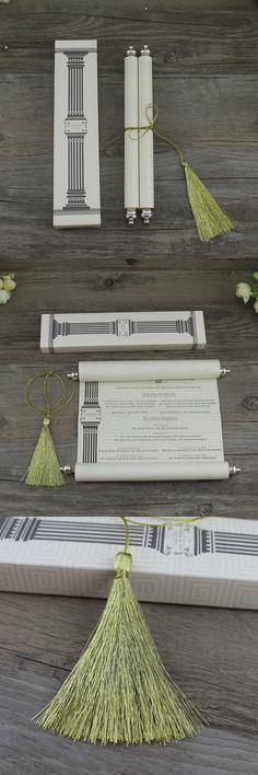 Fancy Theme Royal Design Customized Ivory Scroll Pakistan Wedding Invitations with Tassel Wedding Card Design, Wedding Cards, Wedding Invitations, Pakistan Wedding, Royal Design, Tassel, Ivory, Place Card Holders, Fancy