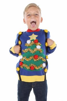 35 Adorable Ugly Christmas Sweaters For Kids to Wear to the Party Ugly Sweater For Kids, Boys Ugly Christmas Sweater, Funny Christmas Sweaters, Ugly Sweater Party, Girls Sweaters, Kids Christmas, Xmas Sweaters, Christmas Decor, Merry Christmas