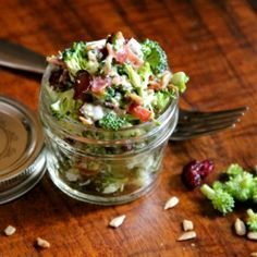 Fresh Broccoli Salad with bacon, sunflower seeds, and cranberries.