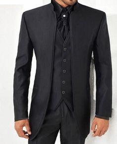 Mandarin Collar Suit Men Black Dragon Embroidery Jacket Pant Suits ...