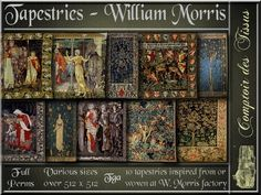 Tapestries - William Morris collector - 10 FULL PERMS HD tga textures #arts & crafts, #william morris, #tapestry, #rug, #secondlife, #textures