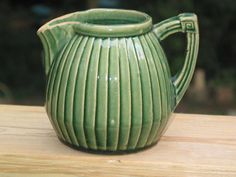 1920's Hull Pottery yellowware pleated green PITCHER by Junctique