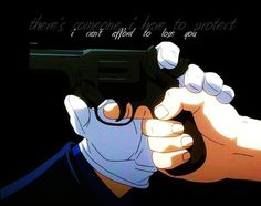 """""""Fullmetal Alchemist: Brotherhood"""" - Roy Mustang and Riza Hawkeye. I love how this happens with both them and Ed and Winry. The gun wasn't aimed at Ed but still."""
