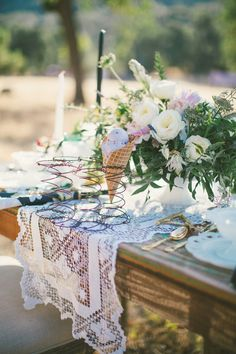 Ice cream cone and lace table runner  | Fall Ice Cream Social {a lovelyfest styled shoot}