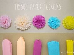 Best 9 The ultimate guide to learn how to make tissue paper flowers. Photo and video tutorial, plus sizing charts, hanging tips and creative ways to use tissue paper flowers! Tissue Flowers, Paper Flowers Diy, Flower Crafts, Diy Paper, Paper Crafting, Tissue Paper Pom Poms Diy, Tissue Paper Decorations, Paper Poms, Handmade Flowers