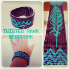 Custom beaded feather cuff bracelet - Be sure to check out Twisted Rank Beadwork on Facebook!