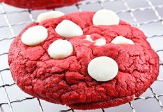 Red Velvet White Chocolate Chip Cookies...soft, chewy and seriously CRAZY delicious!!!  All Scratch  #cookie #redvelvet #recipe