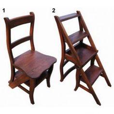 ¿Habéis oído hablar de la silla escalera plegable? Nuestra silla escalera de madera sirve de silla así como de escalera auxiliar para alcanzar ahí arriba.