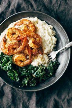 5. Spicy Shrimp With Cauliflower Mash & Garlic Kale