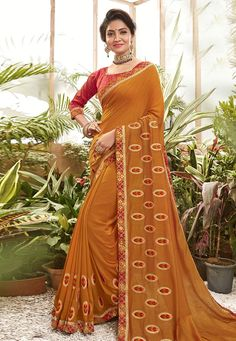 Buy Orange Chanderi Silk Festival Wear Saree 201622 with blouse online at lowest price from vast collection of sarees at Indianclothstore.com. Chanderi Silk Saree, Silk Sarees, Blouse Online, Festival Wear, Sari, Orange, How To Wear, Stuff To Buy, Collection