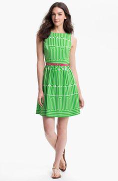 Trina Turk Striped Dress | Trina Turk Garden Maze Print Fit Flare Dress in Green (kelly)