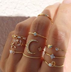 Stylish Jewelry, Dainty Jewelry, Cute Jewelry, Gold Jewelry, Fashion Jewelry, Fashion Rings, Nail Jewelry, Jewelry Rings, Jewelry Accessories