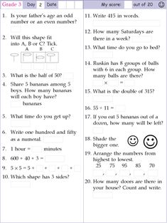 Mental Maths Questions for Class 2 or Grade Math Worksheets Addition and Subtraction Grade Math Worksheets Math Division Worksheets, Math Practice Worksheets, Printable Math Worksheets, Preschool Worksheets, Free Printables, First Grade Math, Grade 3, Second Grade, Math Olympiad