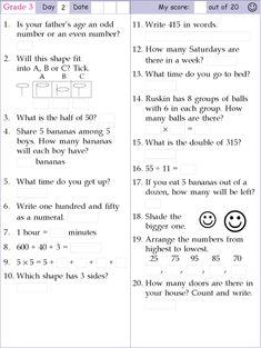math worksheet : mental math grade 2 day 10mental math grade 2 day 10mental math  : Mental Maths Worksheets For Class 1