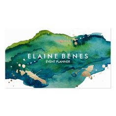 Blue Green and Gold Splatter Business card #watercolor #business #card