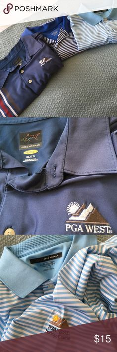 3 Greg Norman brand golf polos All have PGA West logo. Used but good condition. Price firm. Price only negitiable in bundle. I do NOT trade. Greg Norman Golf Shirts Polos