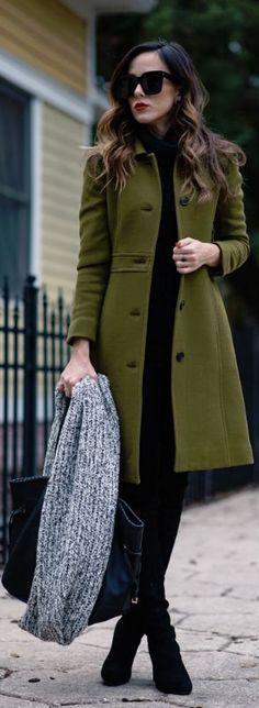 All black + long olive green coat.  I NEED THIS COAT!!!!!!!