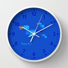 Blue Wall Clock in Happy Bird design with Numbers or without, Blue Clock for Kids