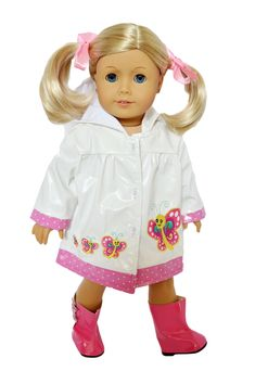 Brittany's - My Brittany's Spring Raincoat for American Girl Dolls, $14.99 (http://www.mybrittanys.com/18-inch-doll-clothes-for-american-girl-dolls/outwear-for-american-girl-dolls/my-brittanys-spring-raincoat-for-american-girl-dolls/)