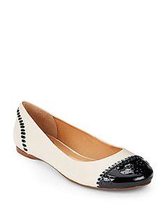 Delfino Cap-Toe Leather Ballet Flats - SaksOff5th