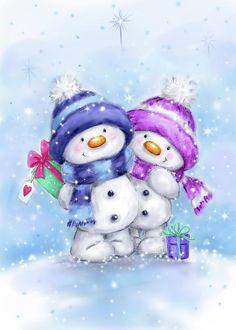 Christmas Animals, Christmas Snowman, Handmade Christmas, Vintage Christmas, Christmas Time, Christmas Crafts, Christmas Decorations, Snowman Images, Snowman Cards