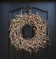 Cream Berry Wreath - Fall Wreath - Year Round Door Decor - Shabby Chic Decor - Simple Home Decor by twoinspireyou on Etsy https://www.etsy.com/listing/246043432/cream-berry-wreath-fall-wreath-year
