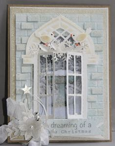 Handmade card by DT member Neline with among others Design Folder Extra - Bricks (DF3403) and Craftables Window (CR1259) from Marianne Design