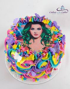 KATY PERRY CAKE  This is a gorgeous rainbow rosette butter cake finished with an edible 'Katy Perry' image on top.  www.cakesbythelake.com.au