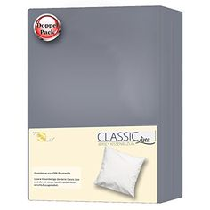 Kissenh�lle Kissen-Bezug | 13 modische Farben und 4 Gr��en | DOPPELPACK 40 x 80 cm | 100% Mako-Baumwolle Jersey Qualit�t | Classic Line aqua-textil 0011459 | dunkel-grau