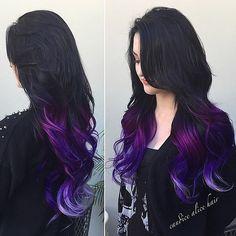 hair, hair color, tips, purple, purple hair Bright Hair, Dye My Hair, Cool Hair Color, Hair Colors, Hair Color Ideas For Dark Hair, Grunge Hair, Hair Dos, 4b Hair, Ombre Hair