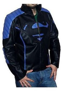 Handmade Super Man Logo Mens Blue Biker Leather Jacket Quilted Effect Shoulder - Outerwear