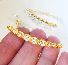 Gold Sideways Curver Bracelet Connector Bridal Gold by BijiBijoux, $2.50