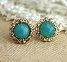 Blue aqua gemstone Rhinestone stud swarovski by iloniti on Etsy, $32.00