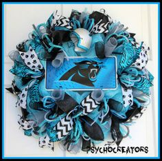 Carolina Panthers Wreath  Blue Silver Black NFL by PsychoCreators
