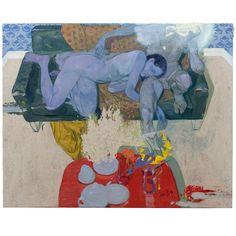 Paar auf dem Sofa 2019 Ölbild Oil on Linoleum 153 x 122 cm it was a wonderful opening last night. Art Inspo, Kunst Inspo, Painting Inspiration, Artist Painting, Figure Painting, Painting & Drawing, Surrealism Painting, Art And Illustration, Figurative Kunst