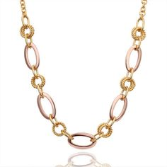 Unique Design Linking Hollow Oval Necklace with 18K Gold Plated Tin Alloy Rose Gold | Bellast