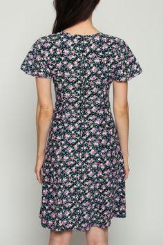 268316af672 Black Floral Dress Mini 90s Babydoll Grunge V Neck Bohemian Flutter Sleeve  1990s Vintage Boho Short Sleeve Empire Waist Pink Extra Small xs