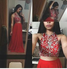 2 pieces red prom dresses, sexy prom dress, unique prom dress, dresses for prom,
